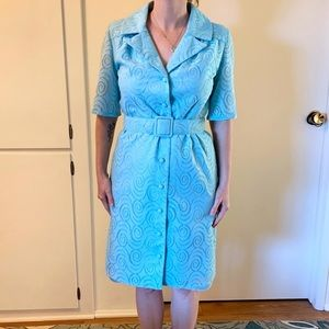 Vintage Lace 1960s House Dress with Belt